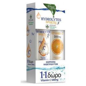 Power Health PROMO Hydrolytes Sports Stevia Ηλεκτρολύτες, 20eff.tabs & ΔΩΡΟ Vitamin C 500mg, 20eff.tabs