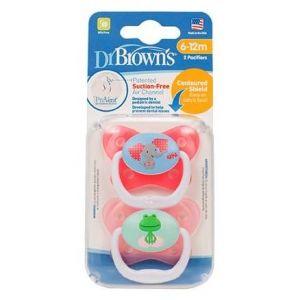 Dr. Brown's Πιπίλα πεταλούδα ορθο/κη ροζ, επίπεδο 2, 6-12m, 2τμχ