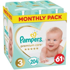 Pampers Monthly Pack Premium Care No3 (6-10 Kg), 204τμχ