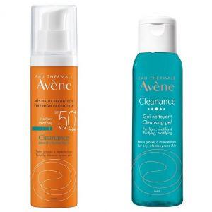 Avene Promo Cleanance Solaire SPF50+, 50ml & Cleanance Cleansing Gel, 100ml
