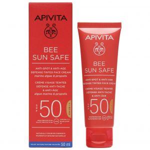 Apivita Bee Sun Safe Anti-spot & Anti-age SPF50 Defense Tinted Face Cream, 50ml
