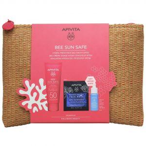 Apivita Bee Sun Safe Hydra Fresh Gel Face Cream SPF50, 50ml & ΔΩΡΟ Αqua Beelicious Booster, 10ml & Express Beauty Face Mask Sea Lavender, 2x8ml & Νεσεσέρ Ψάθινο