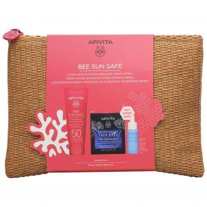 Apivita Bee Sun Safe Hydra Sensitive Soothing Face Cream SPF50+, 50ml & ΔΩΡΟ Αqua Beelicious Booster, 10ml & Express Beauty Face Mask Sea Lavender, 2x8ml & Νεσεσέρ Ψάθινο