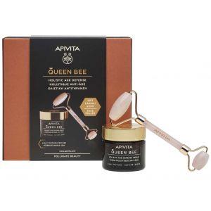 Apivita Queen Bee Light Texture Day Cream, 50ml & ΔΩΡΟ Premium Face Roller