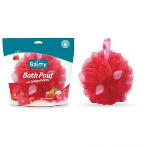 Vican Balmy Bath Pouf Σφουγγάρι με Πέρλες Σαπουνιού-Φράουλα, 1τμχ