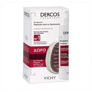 Vichy Dercos  Promo Energising Anti-Hair Loss Shampoo, 400ml & Δώρο Eco Friendly Βούρτσα Μαλλιών