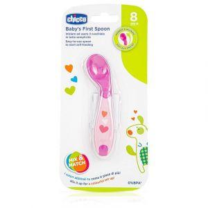 Chicco Baby's First Spoon Κουτάλι Σιλικόνης για Βρέφη 8m+ Κορίτσι, 1τμχ