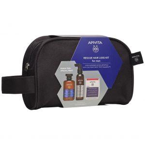 Apivita – Promo Rescue Hair Loss Kit for Men Τονωτικό Σαμπουάν για Άνδρες 250ml, Λοσιόν κατα τις Τριχόπτωσης 150ml & Συμπλήρωμα Διατροφής για Υγιή Μαλλιά και Νύχια 30 κάψουλες