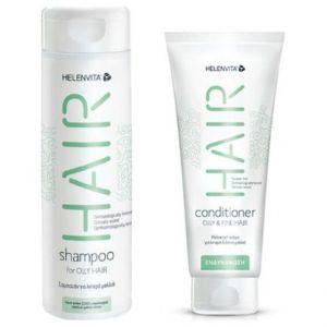 Helenvita Promo Hair Shampoo For Oily Hair Σαμπουάν Για Λιπαρά Μαλλιά 300ml & Hair Conditioner Oily & Fine Hair Μαλακτική Κρέμα 200ml
