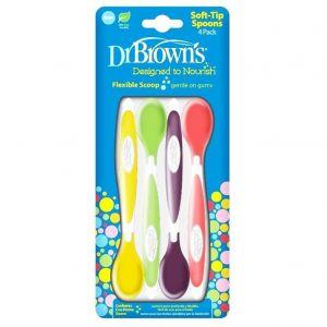 Dr Brown's Soft Tip Spoons Flexible Scoop Μαλακά Κουταλάκια Ταΐσματος 4m+, 4τμχ